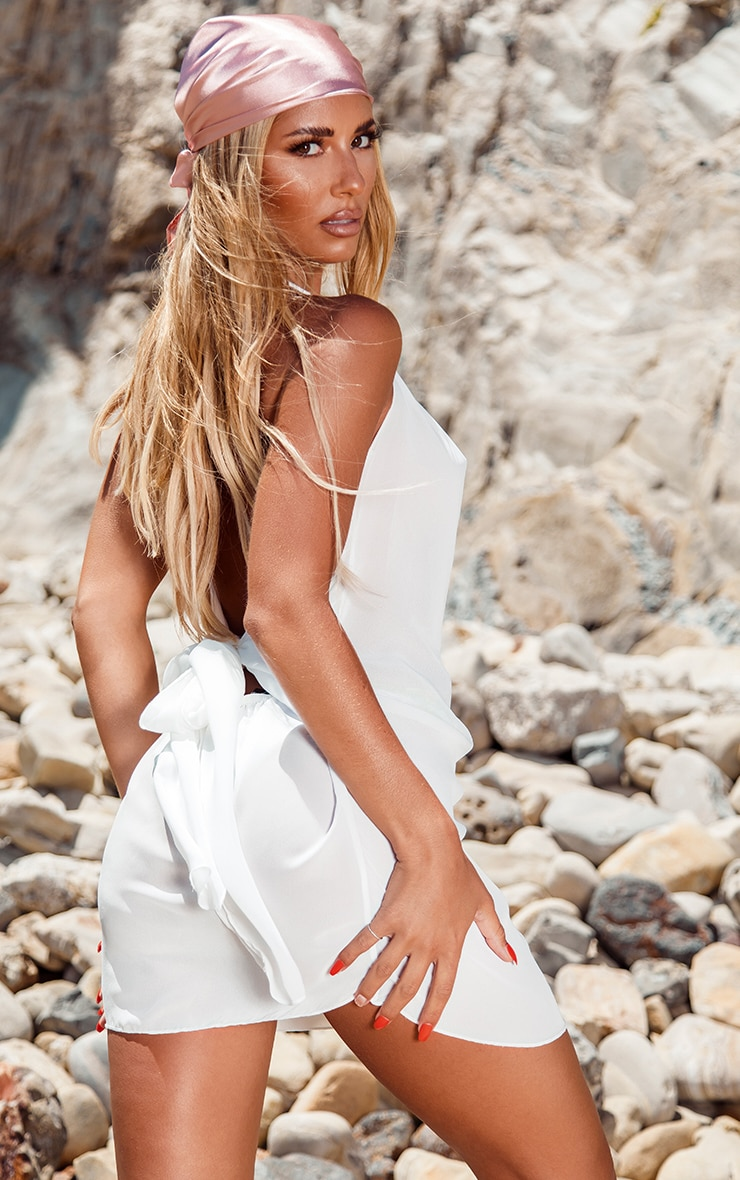 White Knot Back Beach Dress 2