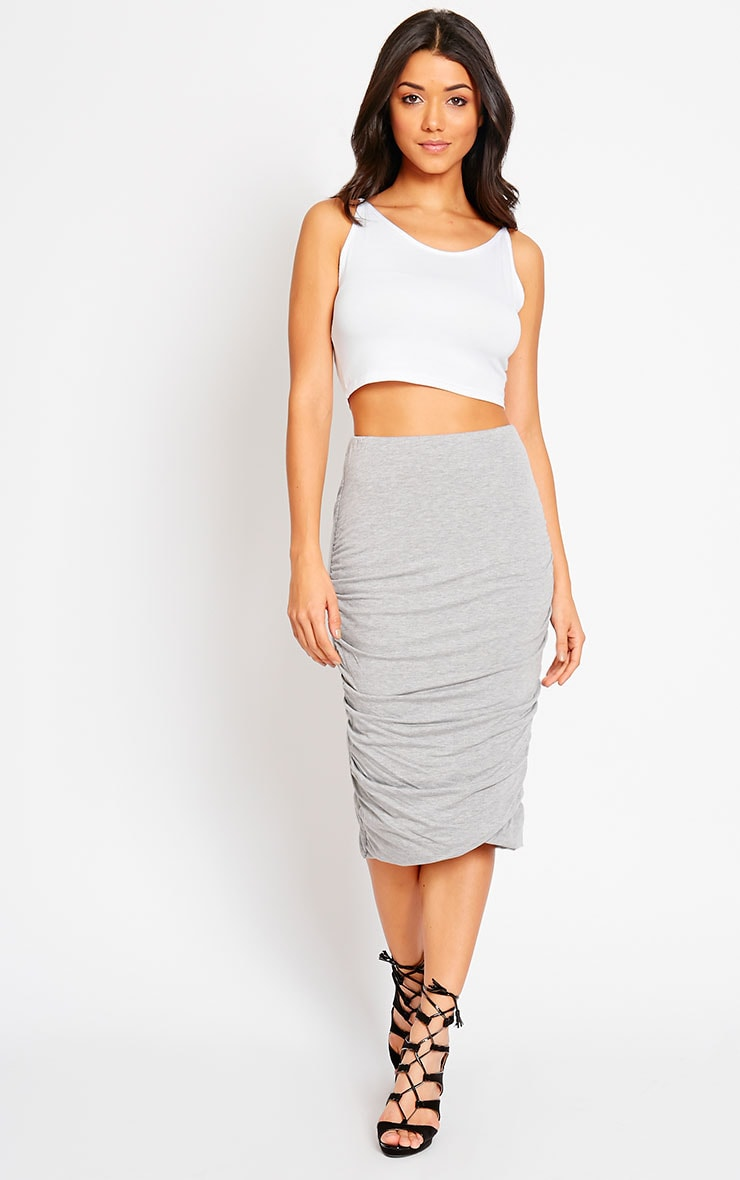 Asia Grey Jersey Ruched Midi Skirt 5