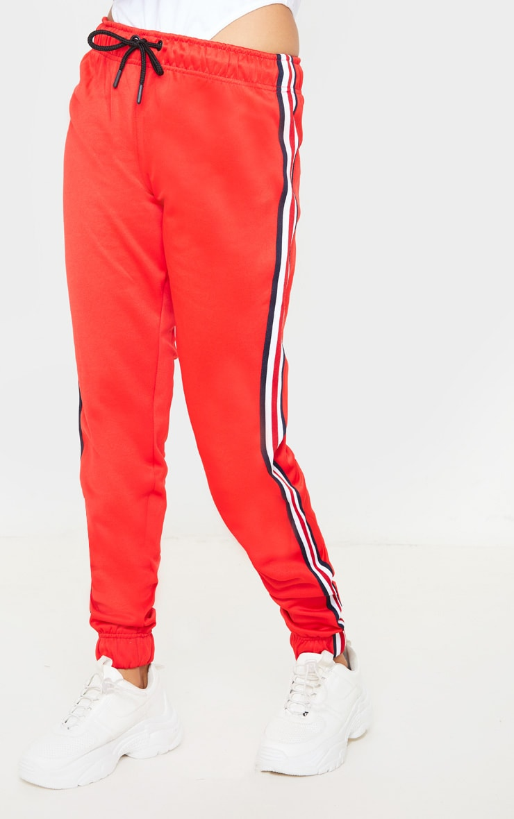 Red Tapered Side Stripe Jogger 2