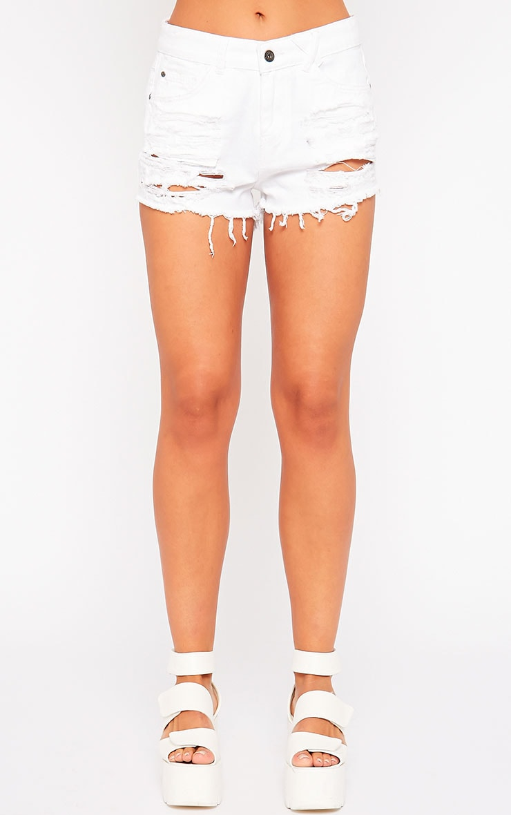 Tanessa White Extreme Rip Denim Shorts 2