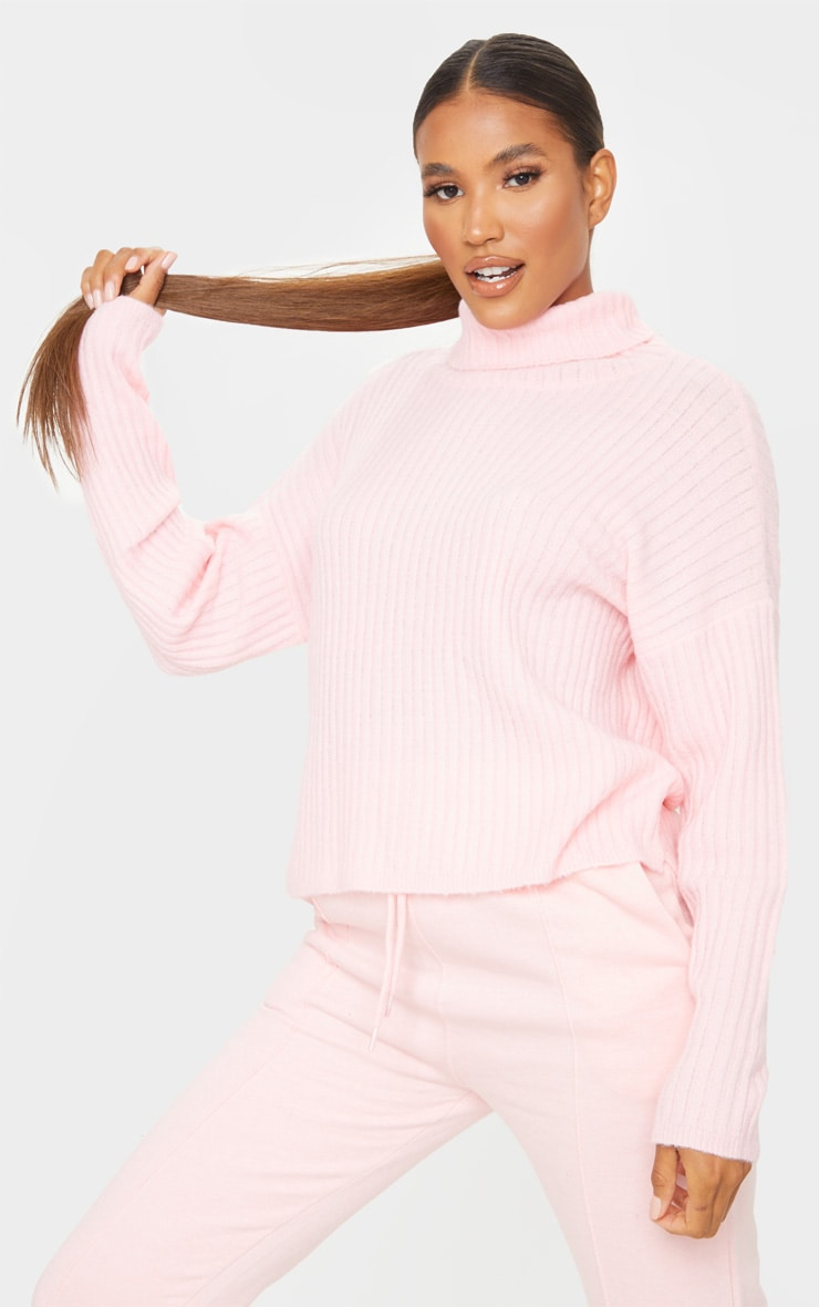 Pink Ribbed Roll Neck Textured Yarn Sweater 3