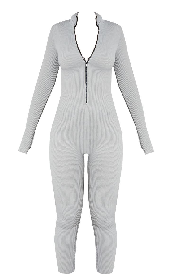 Grey Marl Structured Contour Rib Zip Jumpsuit 5
