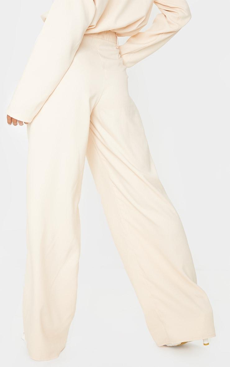 Cream Wide Leg Woven Trousers 3