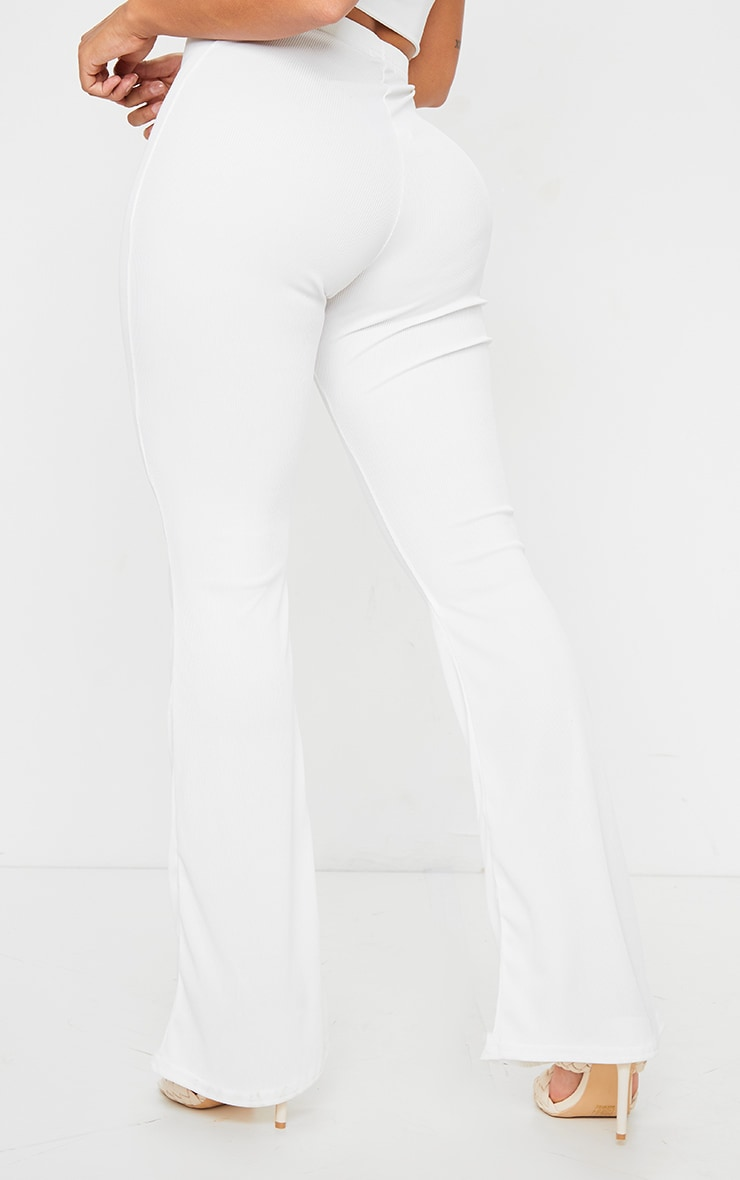 Shape Cream Ribbed Flared Pants 3