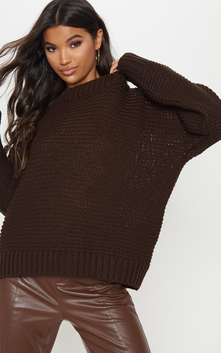 Chocolate Chunky Knitted Sweater  5