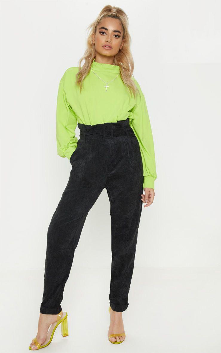 Petite Black Cord Paperbag Belted Pants 1