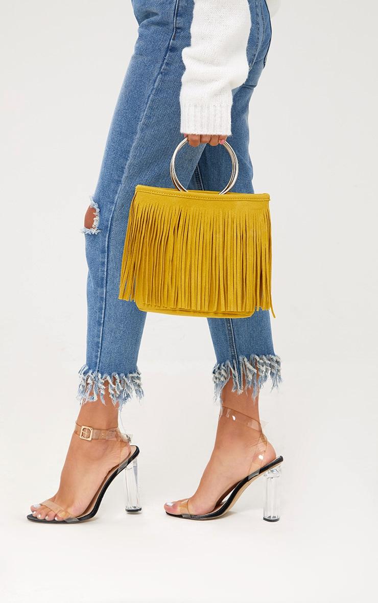 Yellow Fringed Hoop Handle Bag 1