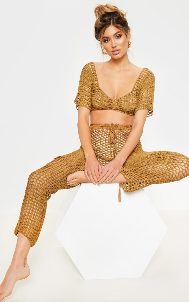 Taupe Crochet Trousers  1