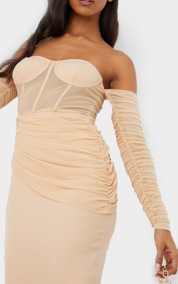 Nude Mesh Drape Corset Detail Bardot Midi Dress 4
