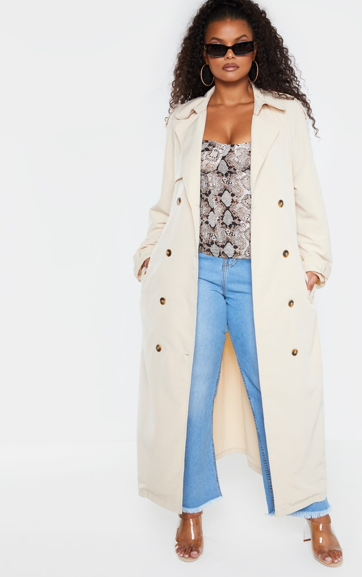 Plus Stone Oversized Button Down Trench Coat 6