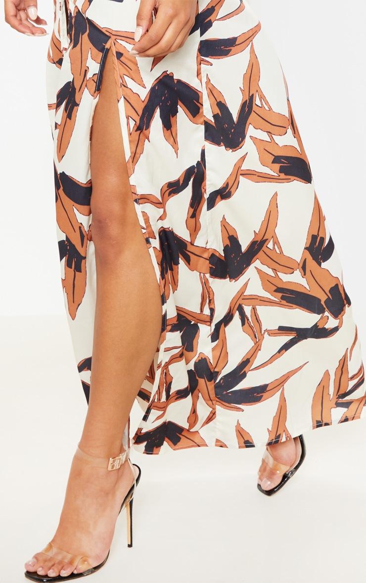 White Tropical Print Split Front Maxi Shirt Dress 5