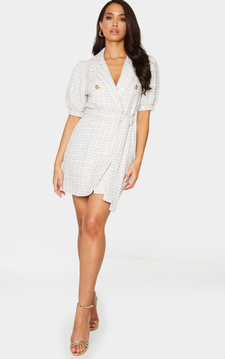 White Glitter Boucle Puff Sleeve Blazer Dress 3