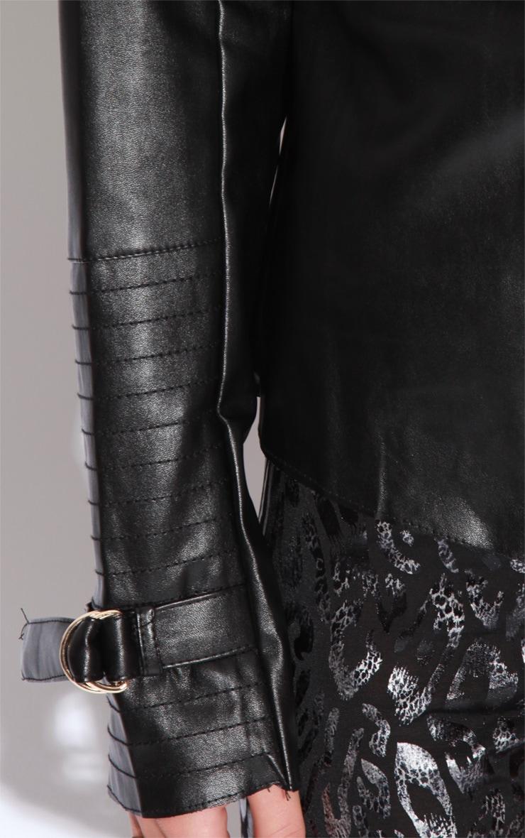 Demi Black PU Waterfall Jacket 7