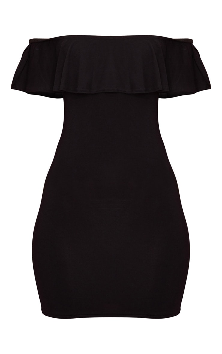 Black Bardot Frill Detail Bodycon Dress 3