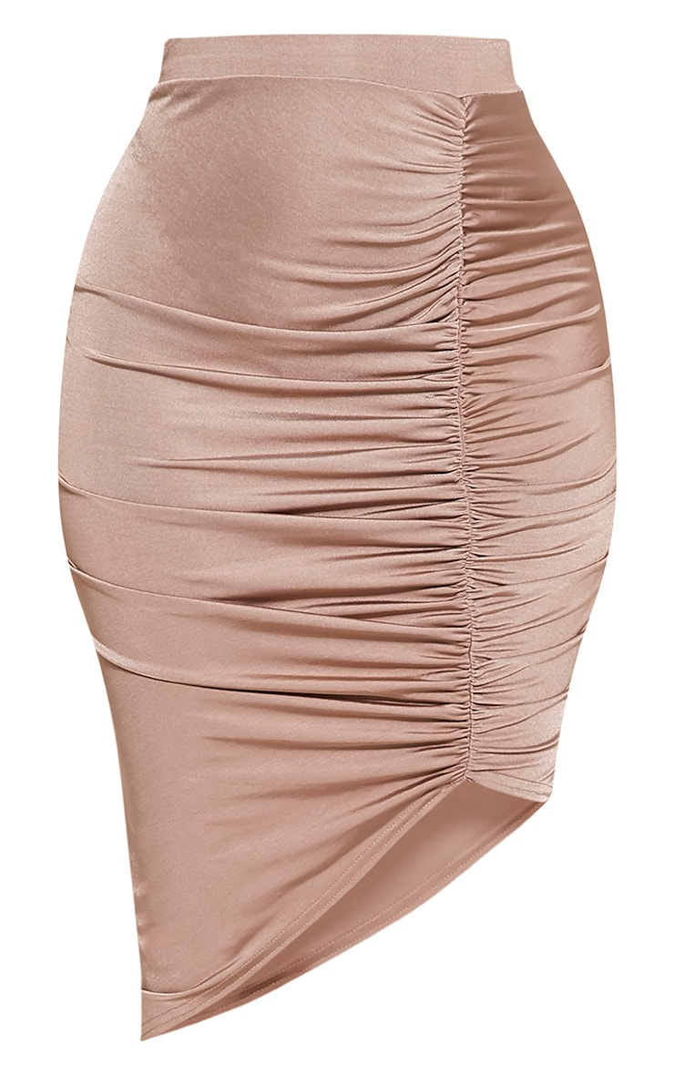 Marybeth Nude Ruched Midi Skirt 3