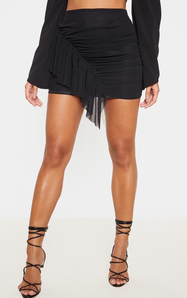 Black Mesh Frill Detail Mini Skirt  2