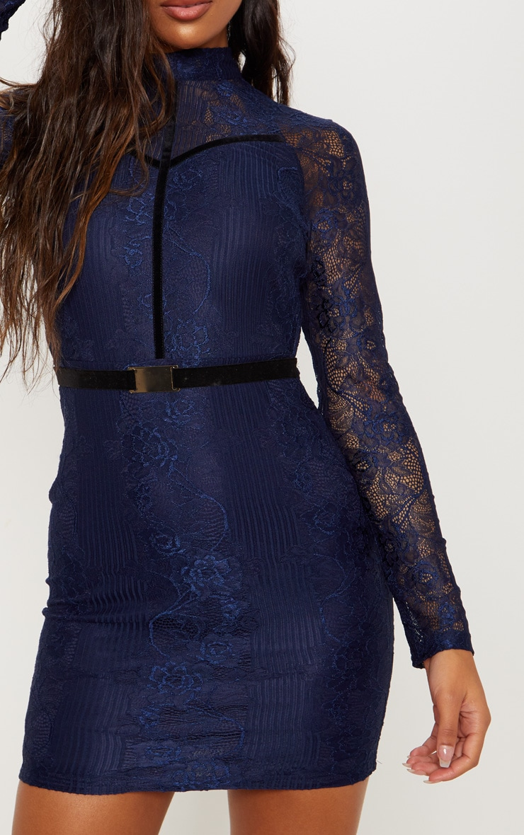 Navy Ribbed Lace Backless Bodycon Dress 5