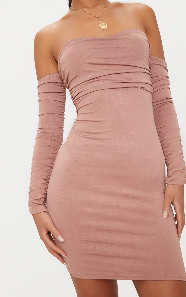 Nude Ruched Front Ruched Arm Bandeau Bodycon Dress 5