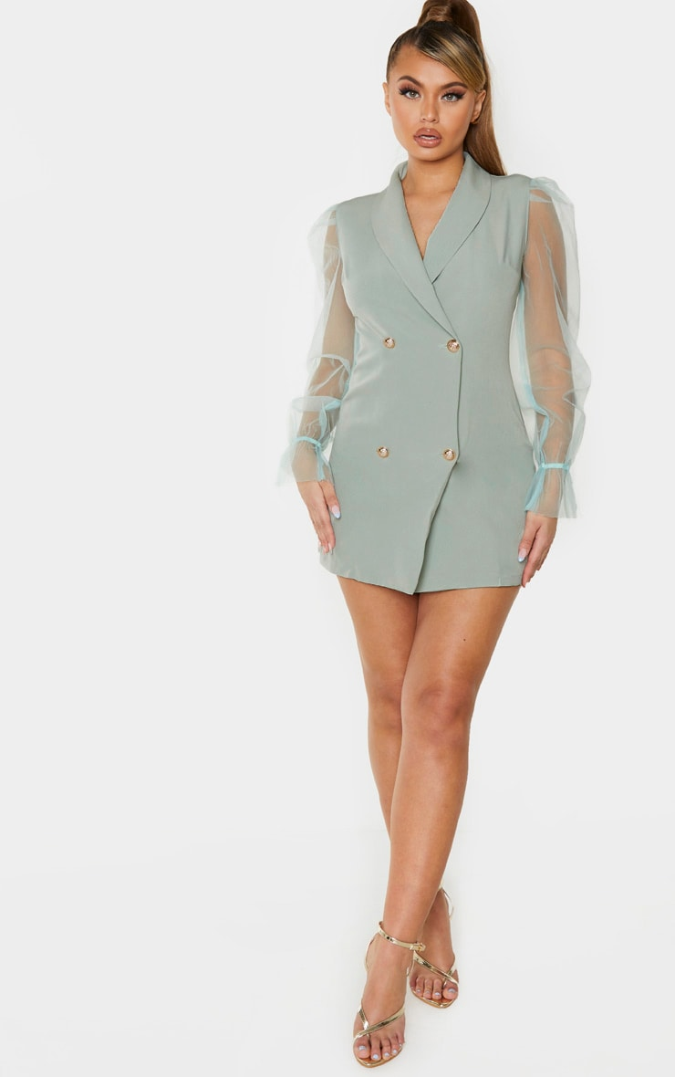 Sage Green Button Up Organza Sleeve Blazer Dress image 4