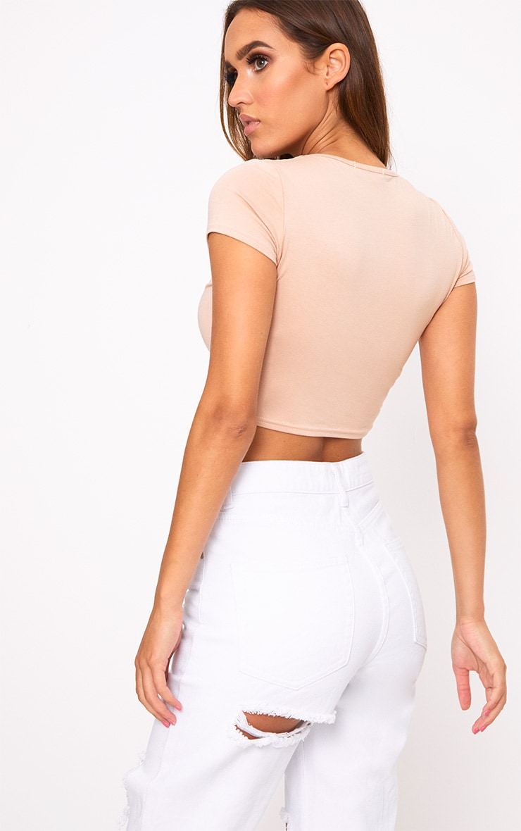 Nude Basic Square Neck Crop Top  2