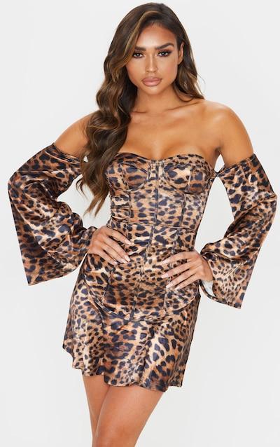 Brown Leopard Print Bardot Binding Detail Shift Dress