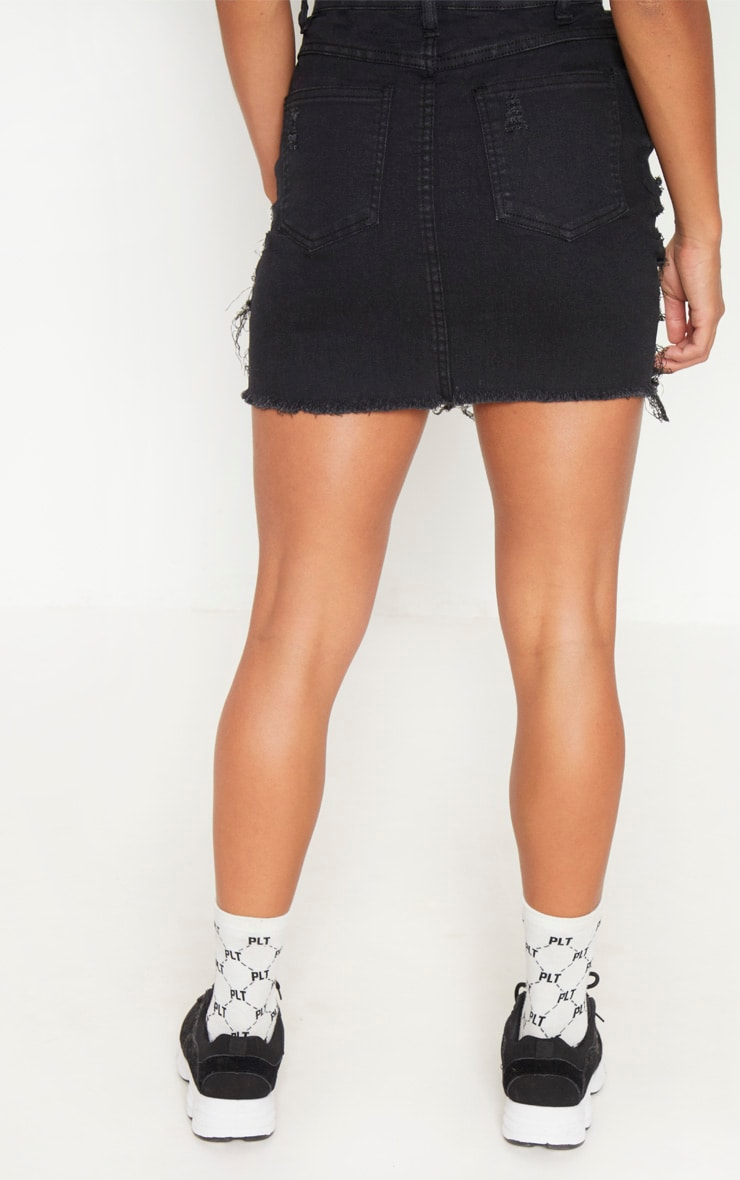 Petite Black Super Shred Denim Mini Skirt 4