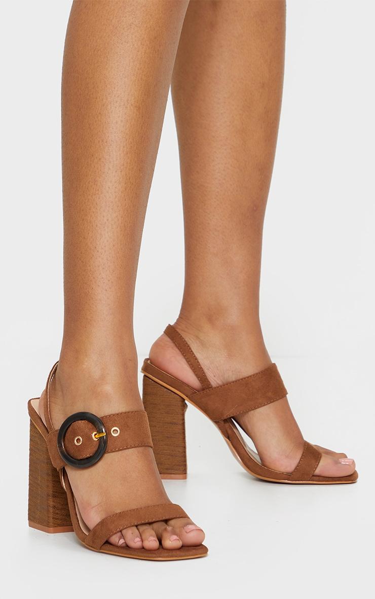 Tan Wood Block Heel Buckle Square Toe Sandals 1