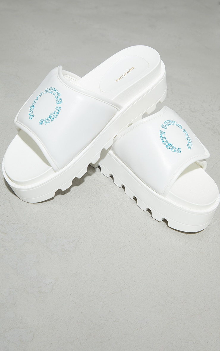 PRETTYLITTLETHING White Velcro Chunky Mule Sandals 3