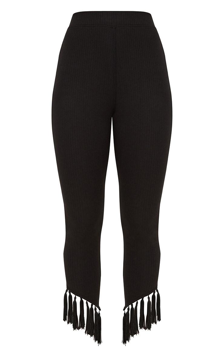 Black Rib Tassel Trim Legging 3