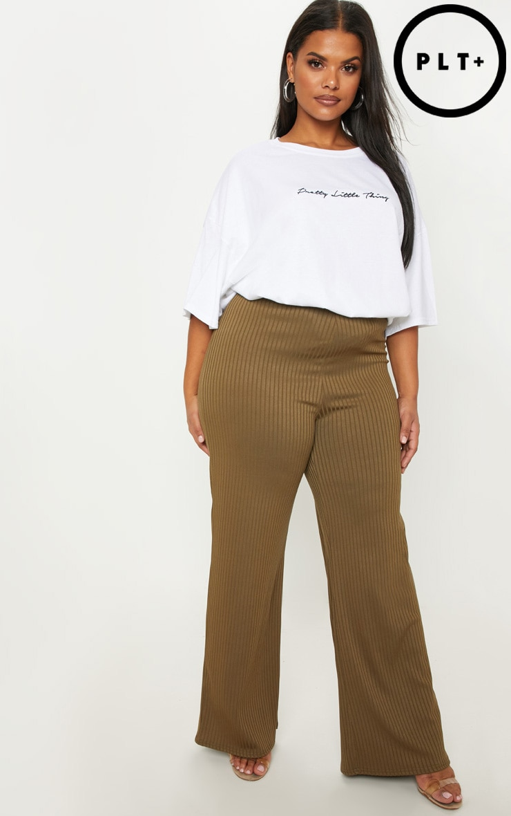 Plus Olive Green Ribbed Wide Leg Trouser