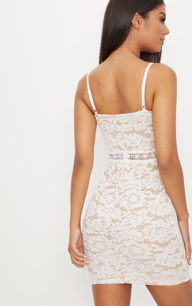 White Strappy Lace Contrast Bodycon Dress 2