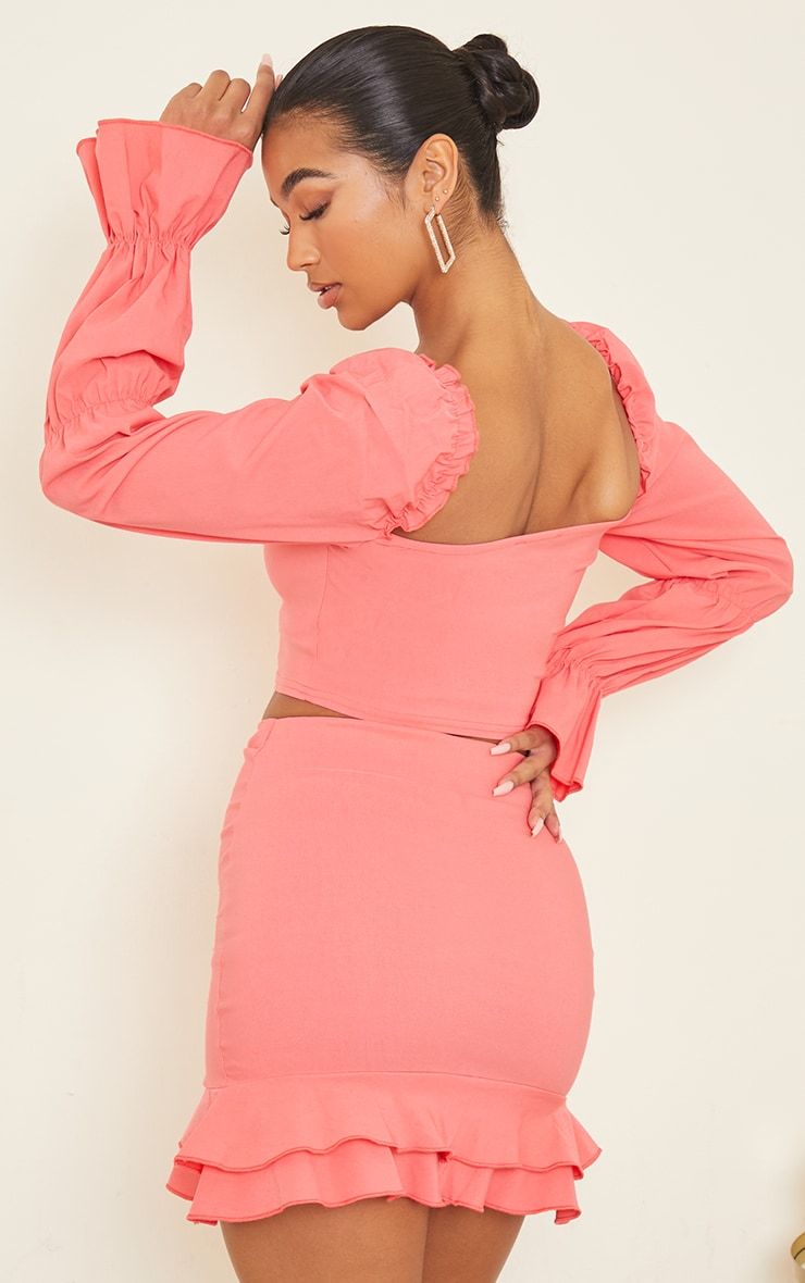 Coral Woven Frill Stretch Ruched Front Long Sleeve Crop Top 2
