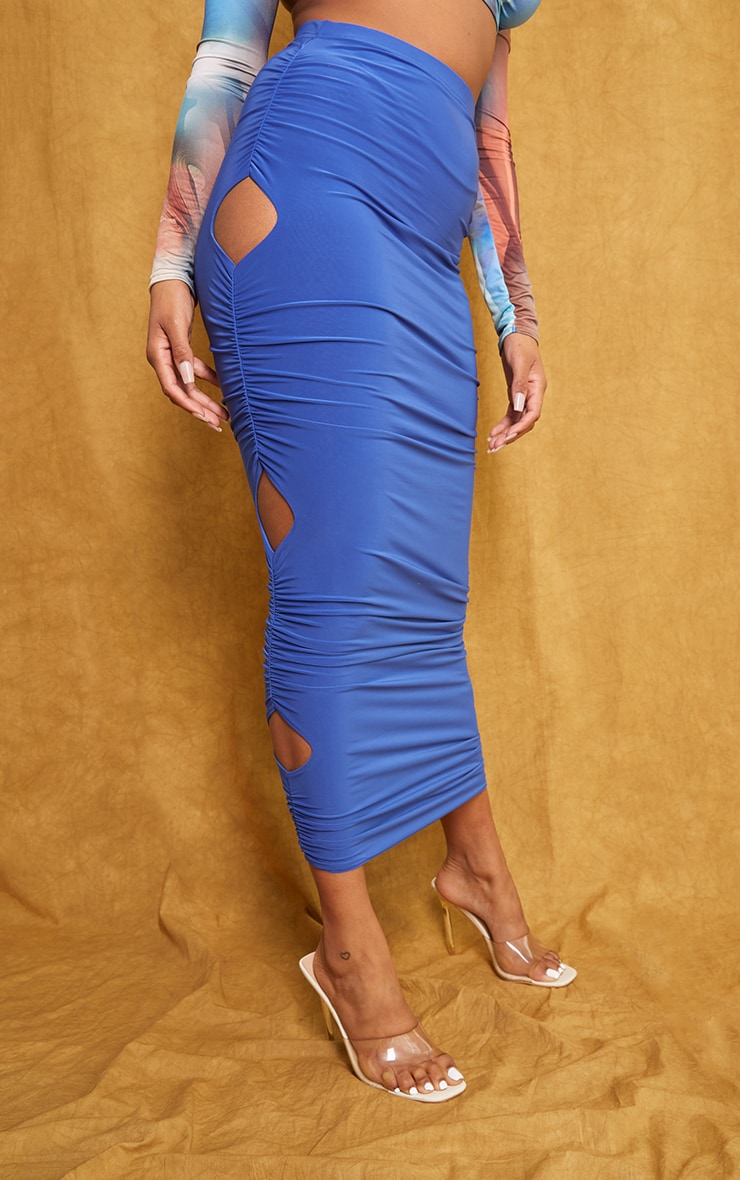 Bright Blue Slinky Cut Out Maxi Skirt 2