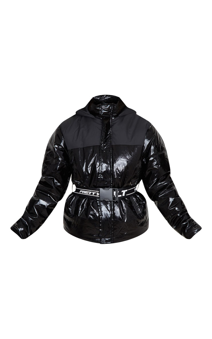 PRETTYLITTLETHING Black Metallic Contrast Panel Puffer Jacket 3