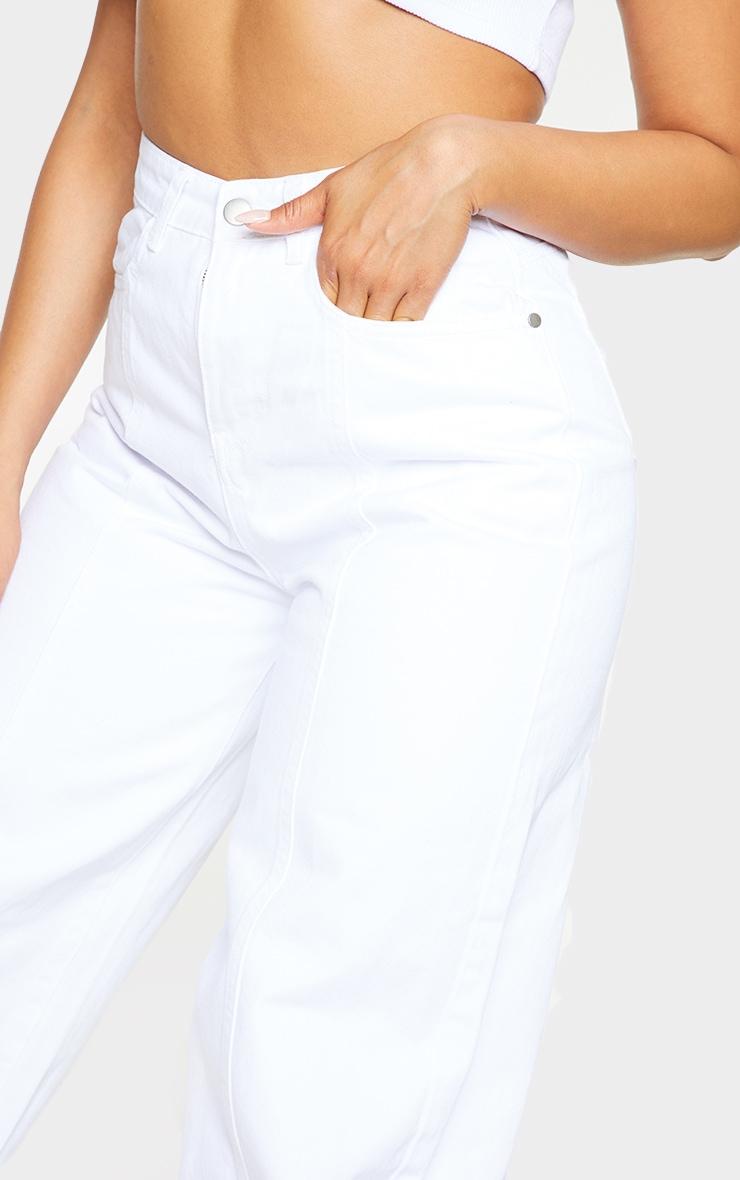 White Seam Front Wide Leg Jeans 4