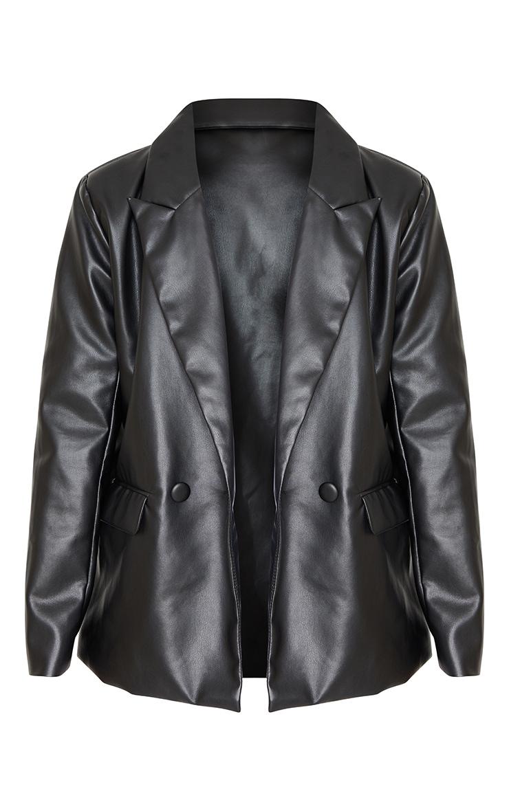 Black Faux Leather Extreme Shoulder Padded Oversized Blazer 5