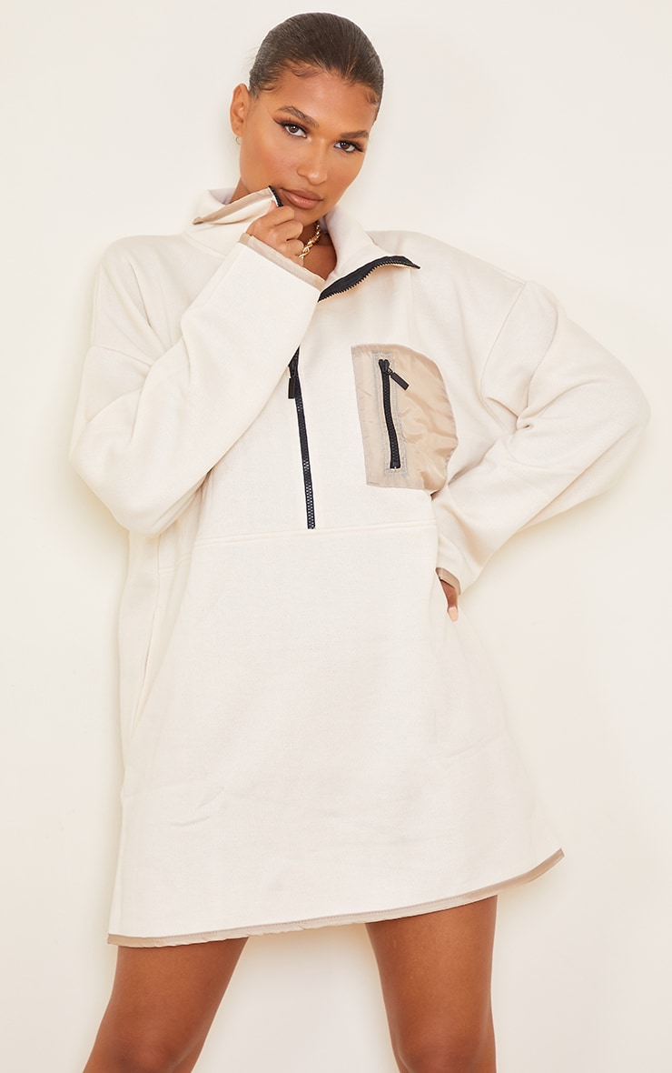 Ecru Contrast Pocket Zip Detail Fleece Sweat Jumper Dress 1