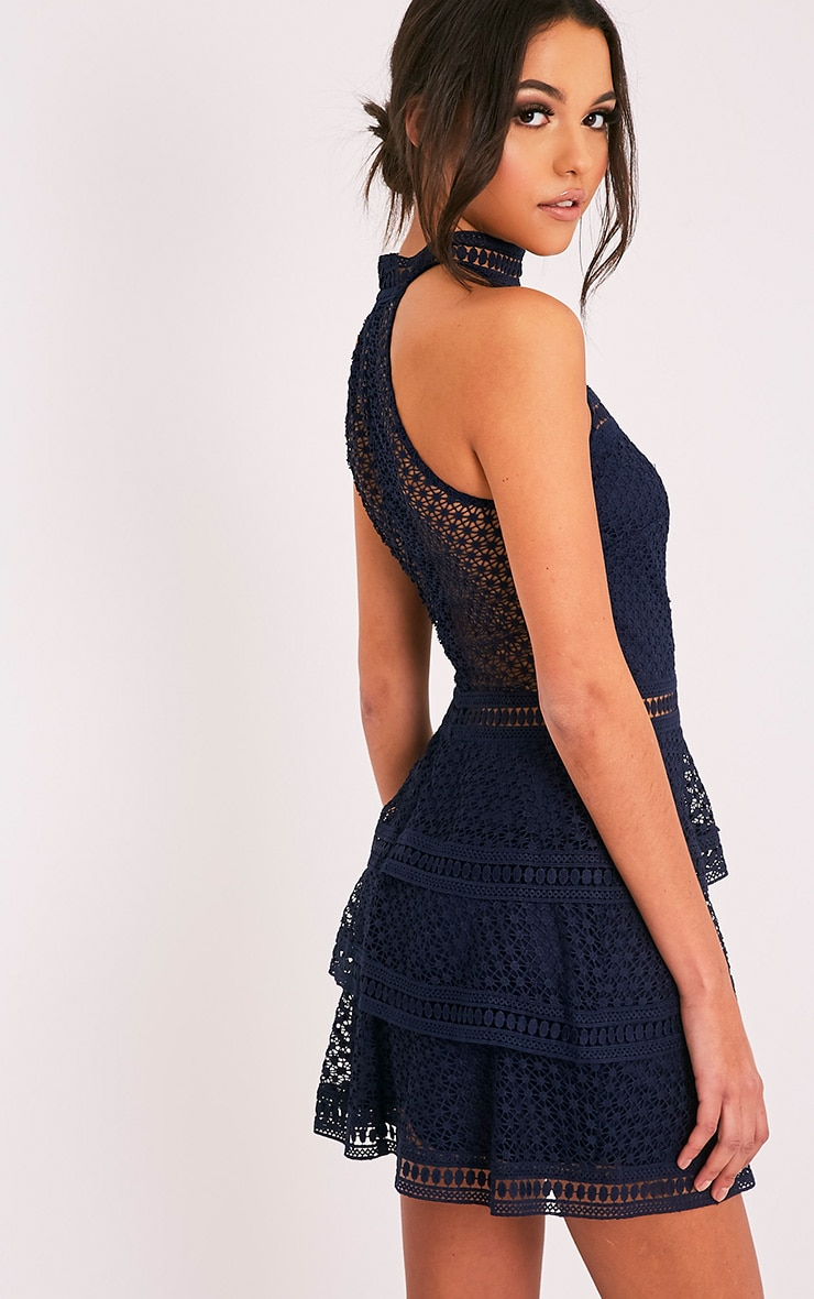 Navy Lace Panel Tiered Bodycon Dress 4