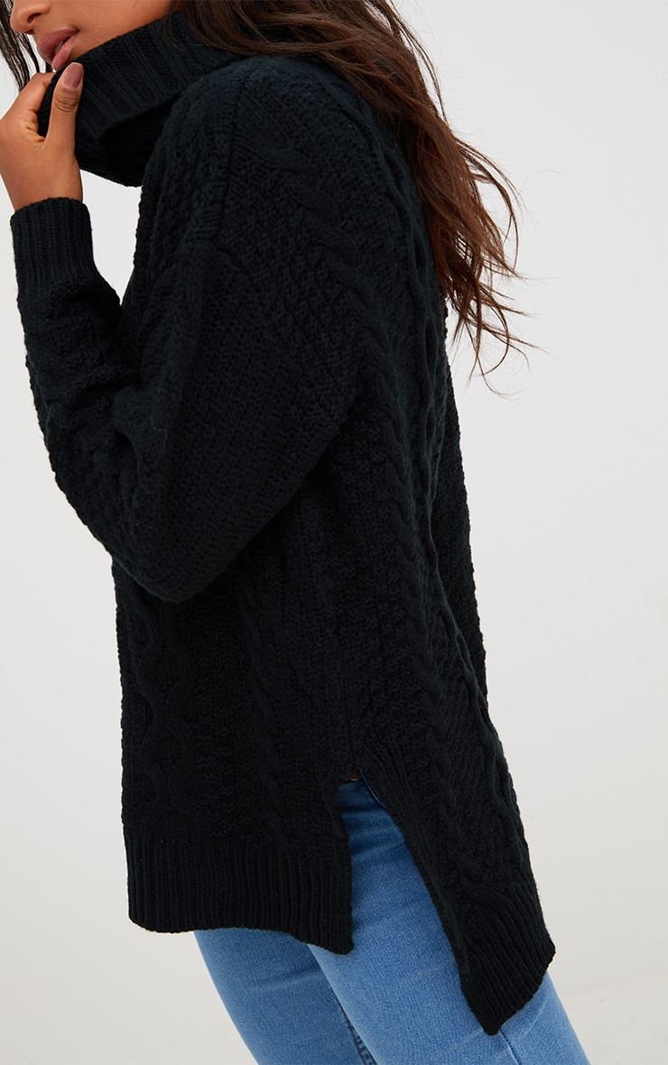 Black Chunky Cable Knit Roll Neck Jumper 5
