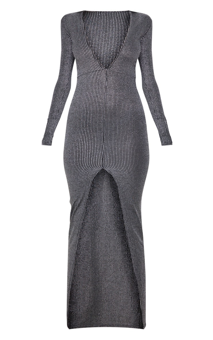 Silver Striped Glitter Long Sleeve Maxi Dress 3