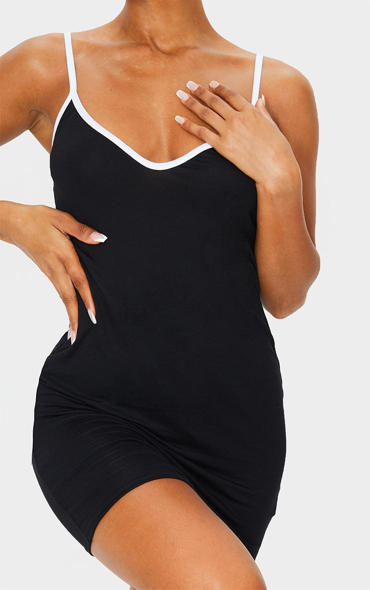 Black V Neck Binding Contrast Strappy Bodycon Dress 4