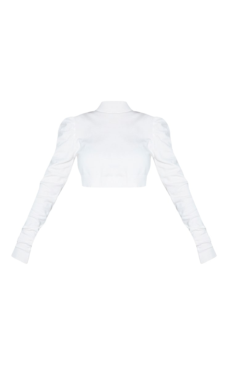 Cream Puff Sleeve High Neck Knitted Crop Sweater 5
