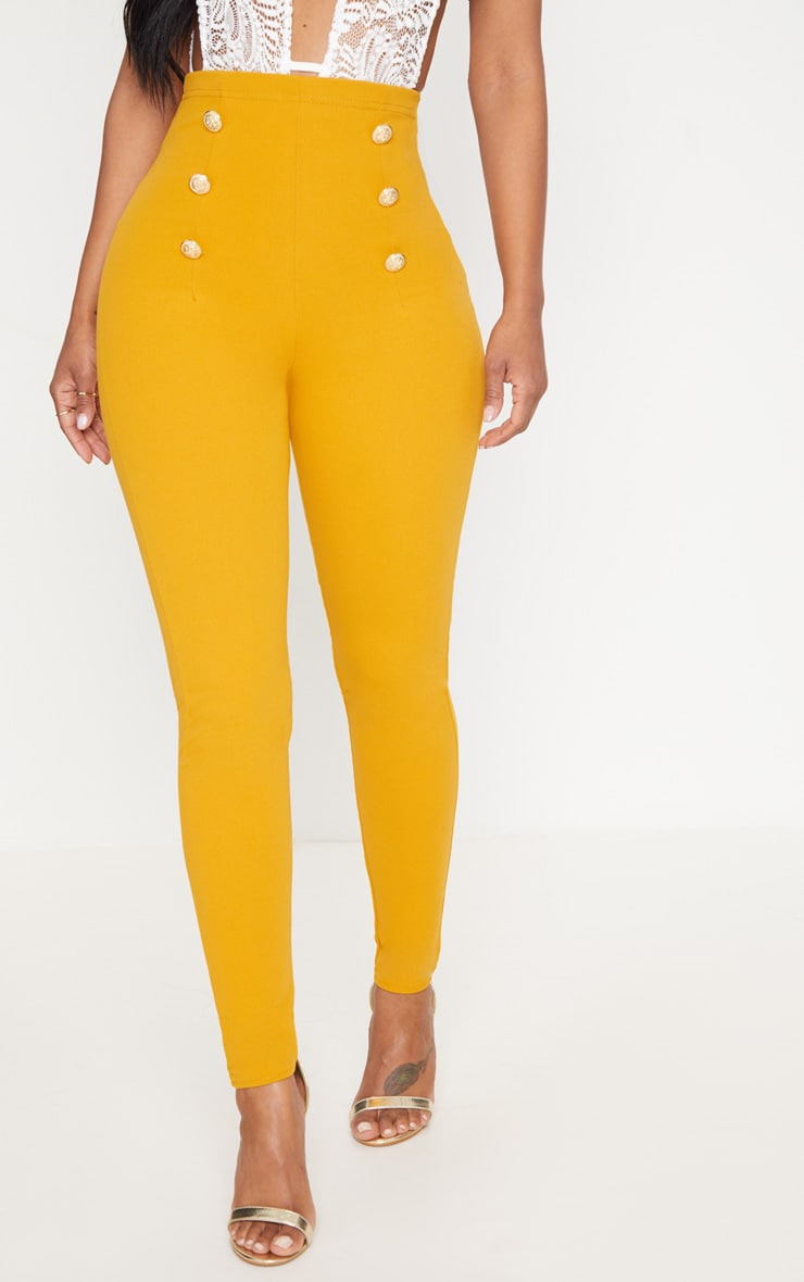 Shape Mustard Military Button Skinny Trousers 2
