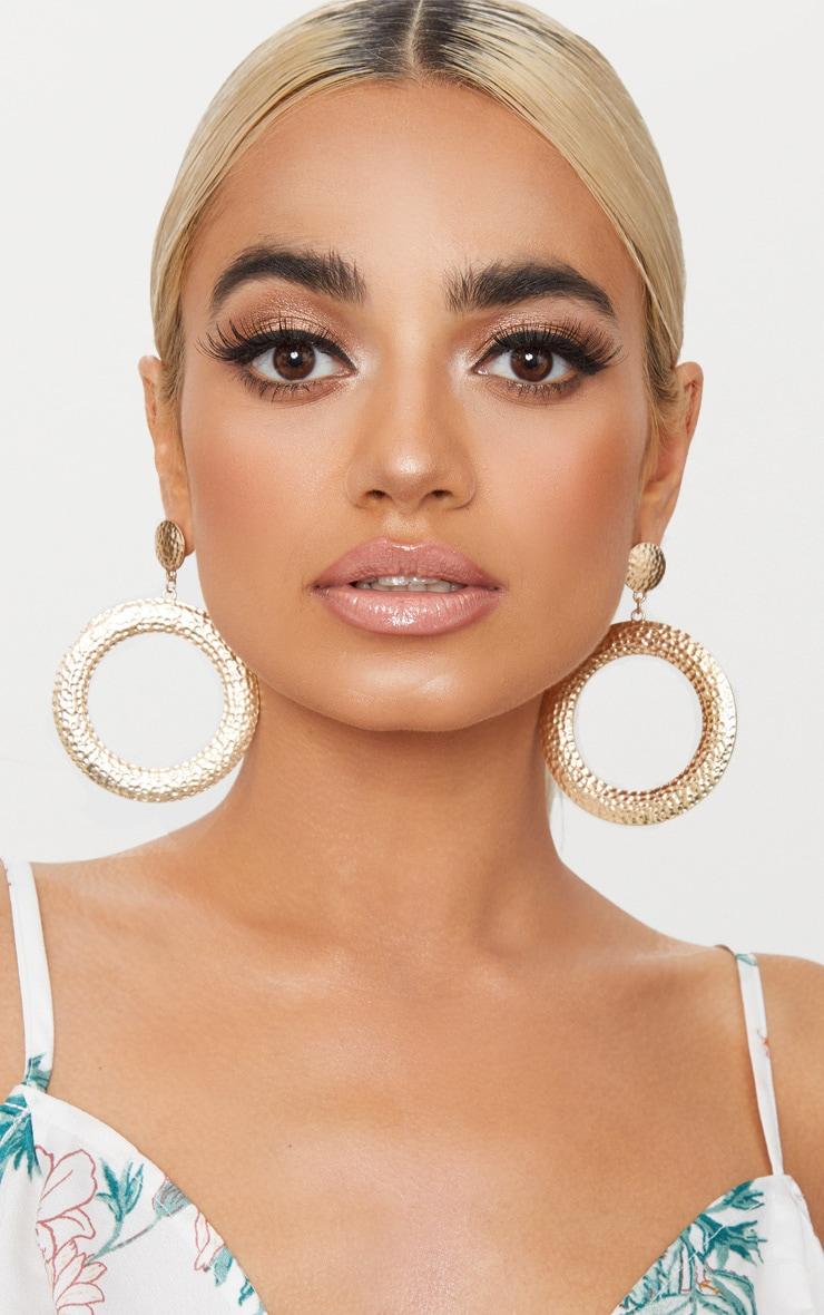 Gold Textured Stud Hoop Earrings 1