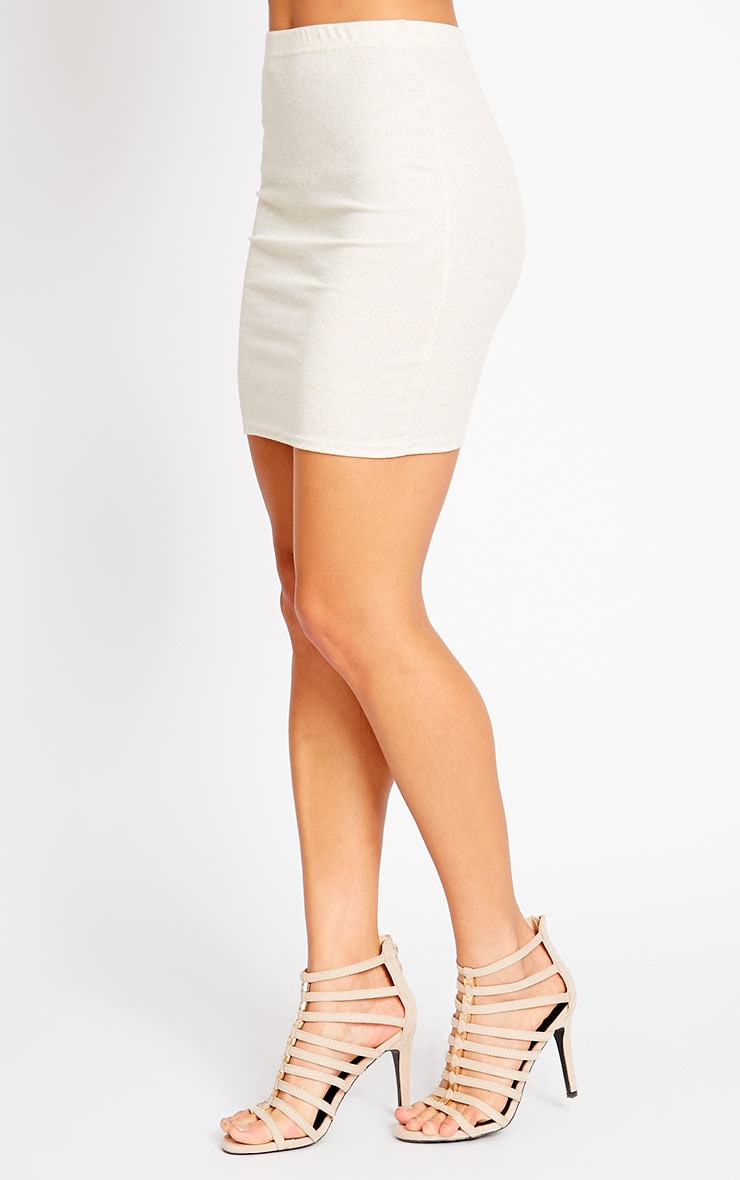 Honey Cream Ribbed Mini Skirt 3