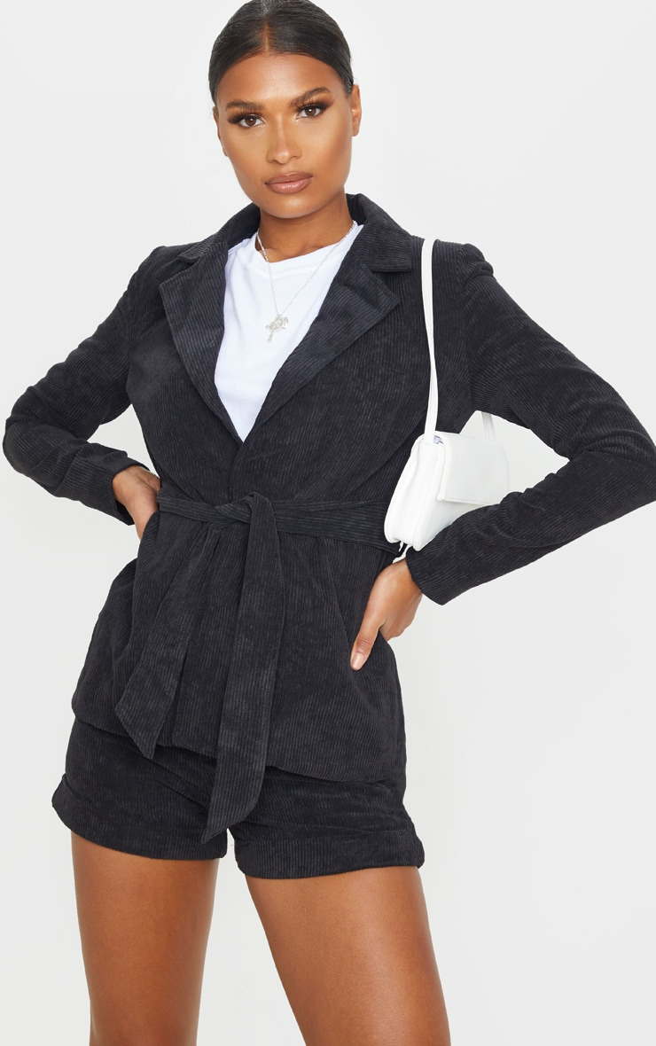 Black Cord Tie Waist Blazer Jacket 1