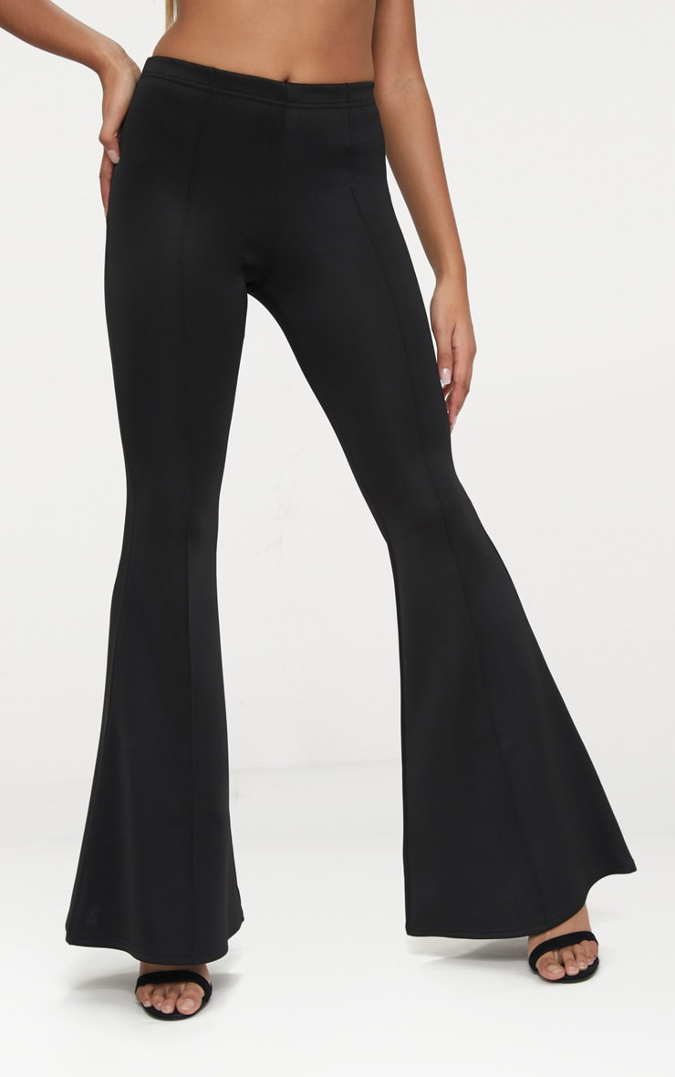 Petite Black High Waist Extreme Flare Trousers 2