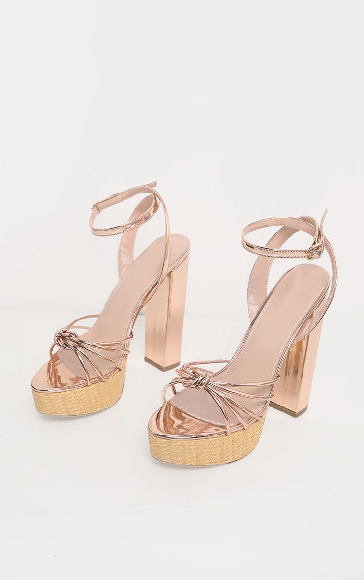 Gold Raffia Platform Sandal 3