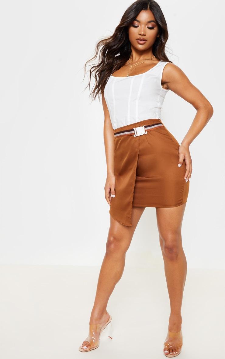 Tan Belted Waist Wrapover Mini Skirt 5