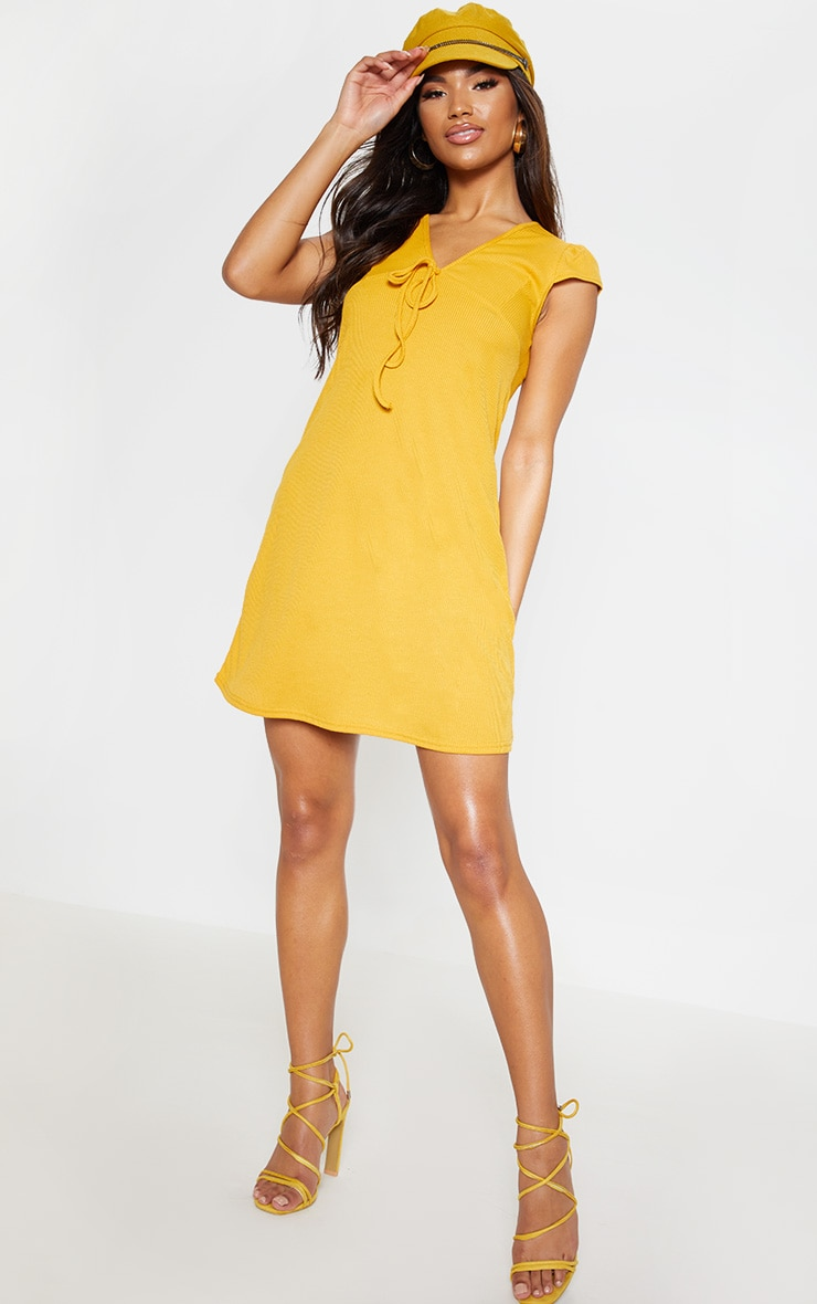 Mustard Tie Rib Cap Sleeve Swing Dress 1